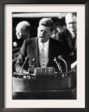 President John F. Kennedy Delivers Inaugural Address after Taking Oath of Office, January 20, 1961 Framed Photographic Print