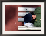 An Elderly Man Sleeps on a Bench Near Beijing's Tiananmen Square Framed Photographic Print