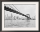 Brooklyn Bridge and Lower Manhattan, New York, New York Framed Photographic Print by Tony Camerano