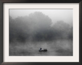 Early Morning Fog Rises off the Susquehanna River as a Lone Fisherman Waits for a Bite Framed Photographic Print
