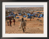 Children Play in the North Darfur Refugee Camp of El Sallam on Wednesday October 4, 2006 Framed Photographic Print by Alfred De Montesquiou