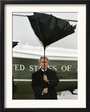 President Bush Jokingly Holds His Wind-Blown Umbrella Upright Framed Photographic Print