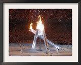 Wayne Gretzky and Others with Burning Olympic Cauldron, Opening Ceremonies for the XXI Winter Games Framed Photographic Print