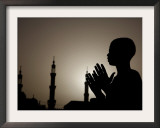 Sudanese Muslim Boy Prays in Front of a Mosque in Sudan Framed Photographic Print