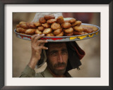 Pakistani Food Vender Displays Food as He Waiting for Customer in Islamabad, Pakistan Framed Photographic Print