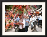Vietnamese Vendors Crowd a Street Selling Colored Lanterns on a Street in Downtown Hanoi Framed Photographic Print