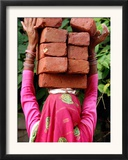 An Indian Woman Construction Worker Stacks Bricks on Her Head Framed Photographic Print