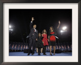 President-Elect Barack Obama and His Family Wave at the Election Night Rally in Chicago Framed Photographic Print