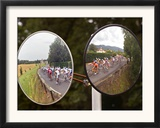 Mirrors at a T-Junction Reflect Riders During the 18th Stage of the Tour De France Framed Photographic Print