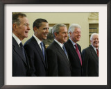 George W. Bush with Barack Obama and Former Presidents Bush, Clinton and Carter in Oval Office Framed Photographic Print