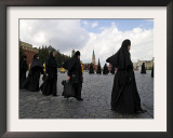 Orthodox Nuns Walk in a Religious Procession to Mark the Day of St. Cyril and Methodius Framed Photographic Print