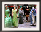 Two Afghan Woman Walk Next to Mannequins at a Women's Gallery Downtown Kabul Framed Photographic Print
