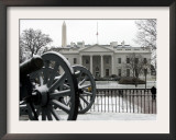 A Light Dusting of Snow Covers the Ground in Front of the White House Framed Photographic Print by Ron Edmonds