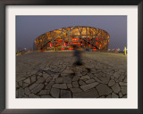 Boy Running Outside Bird's Nest, Beijing, China Framed Photographic Print
