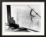 A Steel Worker Rests on a Girder at the 86th Floor of the New Empire State Building Framed Photographic Print