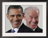 President Barack Obama and Vice President Joe Biden in the East Room of the White House Framed Photographic Print