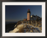 Morning Sunlight Strikes the West Quoddy Head Lighthouse, Lubec, Maine Framed Photographic Print by Michael C. York