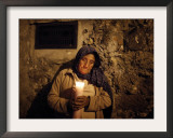 Elderly Woman Holds a Candle as She Takes Part in a Procession During Holy Week in Taxco, Mexico Framed Photographic Print