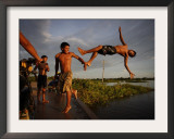 Youths Play in a Lagoon Near the Eastern Beni State Capital of Trinidad, Bolivia Framed Photographic Print