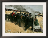 Jewish Settler Struggles with an Israeli Security Officer as Authorities Evacuated the Settlement Framed Photographic Print