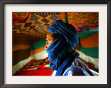 A Man, Wearing his Traditional Tuareg Turban, Stands in His Tent in Koygma Framed Photographic Print