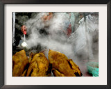 A Young Boy Sells Chicken Broth at a Stall Framed Photographic Print