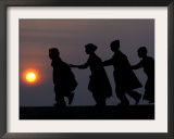 Children Walk to Work in the Wee Hours of the Morning Framed Photographic Print by Rajesh Kumar Singh