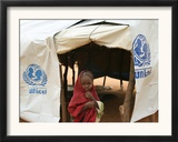 A Sudanese School Girl Stands Infront of Her Class Room Framed Photographic Print