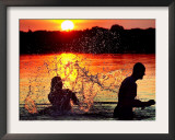 An Unidentified Couple Splashes in Lake Wandlitz Near Berlin on a Warm Evening Framed Photographic Print