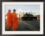 Thai Monks Watch as Soldiers Guard an Area Near Crucial Government Buildings Bangkok, Thailand Framed Photographic Print