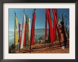 A Bhutanese Man Straightens a Prayer Flag at a Buddhist Shrine Framed Photographic Print