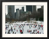 Hundreds of Ice Skaters Crowd Wollman Rink Framed Photographic Print