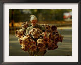 Kashmiri Carries 'Kangris' or Firepots to Sell in a Market in Srinagar, India Framed Photographic Print