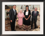 President Obama and His Wife Pose with Queen Elizabeth II and Prince Philip, During an Audience at Framed Photographic Print
