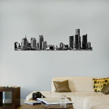 Detroit Skyline Cut-Out 25x79 Kalkomania ścienna