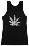 Womans: Tank Top - Marijuana Leaf (Slim Fit) Ermeløs topp