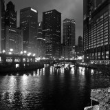 Chicago River at Night Wall Decal