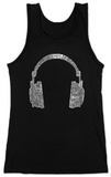 Juniors: Tank Top - Headphones out of Different Music Genre's T-Shirt