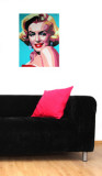 Martin Kreloff Rectangle Marilyn with Blue Background Wall Decal