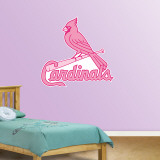 Pink Cardinals Logo   Wall Decal