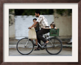 Palestinian Man, 28, Takes His Son, 4, and Daughter, 2, on His Bicycle Framed Photographic Print