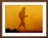 An Israeli Soldier Runs to Reload an Israeli Mobile Artillery Piece Framed Photographic Print
