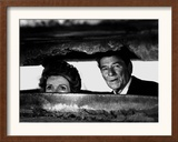 President Ronald Reagan and First Lady Nancy Reagan Peer out of a World War II Bunker Framed Photographic Print
