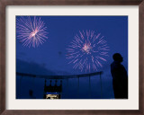 Fireworks at Kauffman Stadium, Kansas City, Missouri Framed Photographic Print by Charlie Riedel