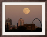 A Full Moon Rises Behind Downtown Saint Louis Buildings and the Gateway Arch Friday Framed Photographic Print by Charlie Riedel