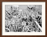 U.S. Serviceman Attend a Protestant Service Aboard a Landing Craft Before the D-Day Invasion Framed Photographic Print