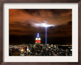 """Tribute in Light"" Illuminates the Sky Over Manhattan Framed Photographic Print"