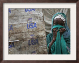 A Somali Child Covers Her Face at Dadaab Refugee Camp in Northern Kenya Monday, August 7 2006 Framed Photographic Print by Karel Prinsloo