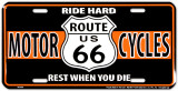 Route 66 Biker Placa de lata