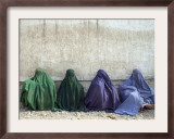 Women Wearing Burquas Wait to be Received at a Clinic Framed Photographic Print